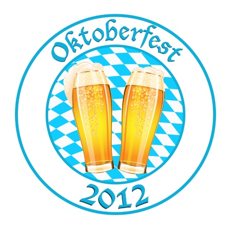 Oktoberfest banner with two beer glass Stock Vector - 14846780