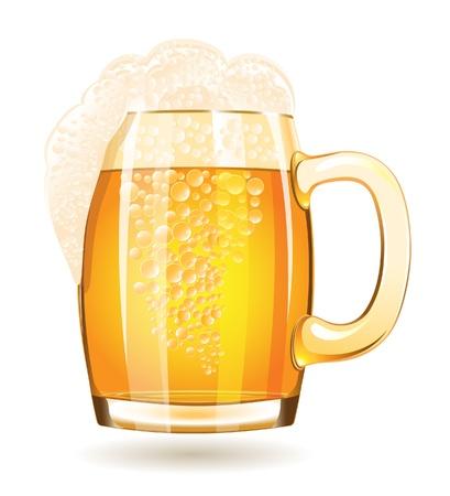 cerveza: Taza de cerveza aislada en un fondo blanco Vectores
