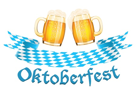 Oktoberfest banner with two beer mugs Çizim