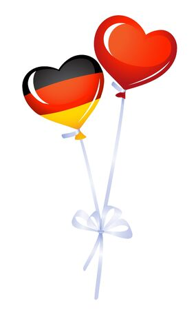 Two heart balloons. One in germany colors Vector