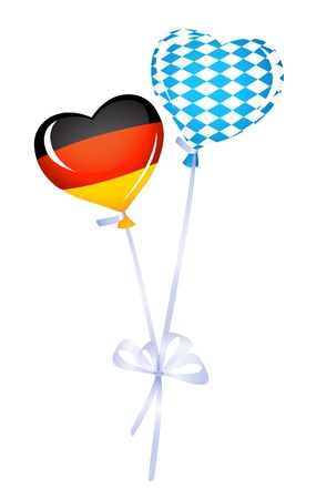 Two heart balloons in germany and bavarian colors Vector