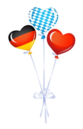 bavaria: Heart balloons in germany and bavarian colors Illustration