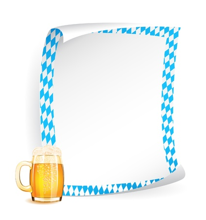 Paper board with frame in bavarian colors and beer mug Stock Vector - 14882834