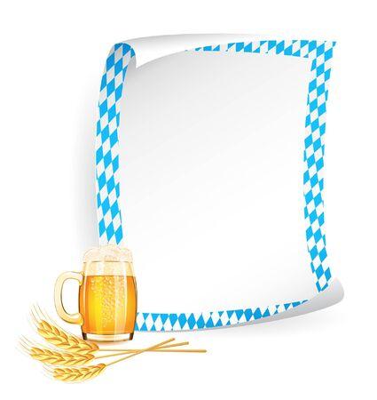 octoberfest: Papel cart�n en colores b�varo con jarra de cerveza y espigas de trigo