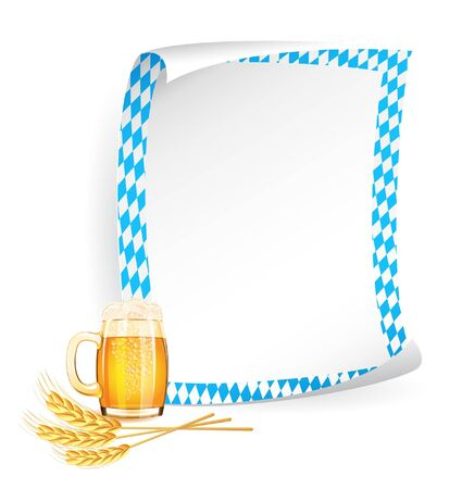 Paper board in bavarian colors with beer mug and wheat ears Vector