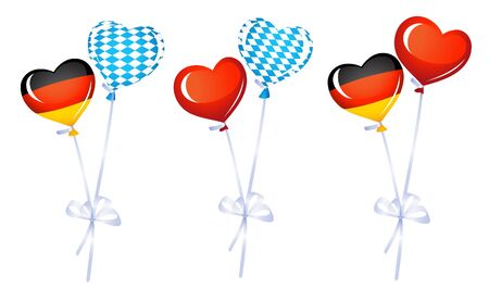 Set of heart balloons in germany and bavarian colors Stock Vector - 14989391