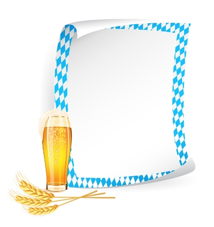 Paper board in bavarian colors with beer glass and wheat ears Vector
