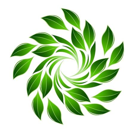icono ecologico: Verde, flor, hoja Vectores