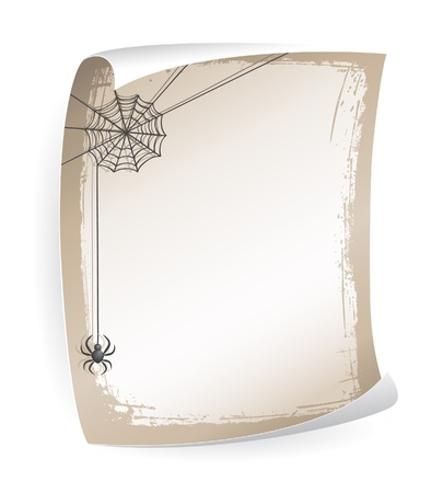 Paper notice board with spiderweb and spider Illustration