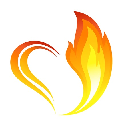 Abstract fire flames icon with heart element Vector