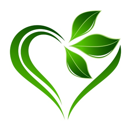 save the environment: Abstract plant icon with heart element