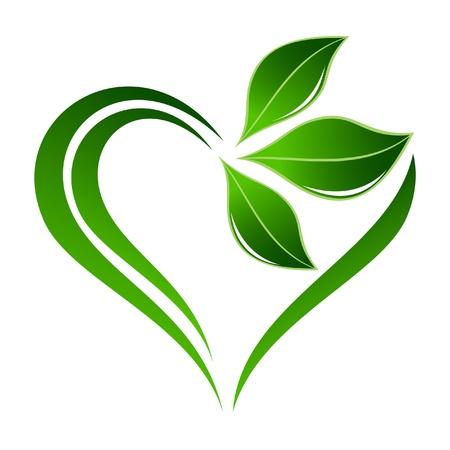 icono ecologico: Icono planta abstracto con elemento coraz�n