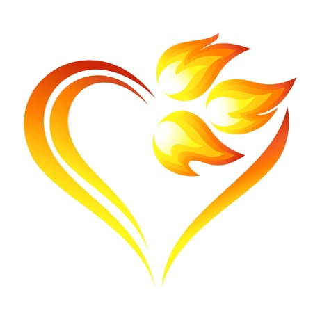 flammable: Abstract fire flames icon with heart element Illustration