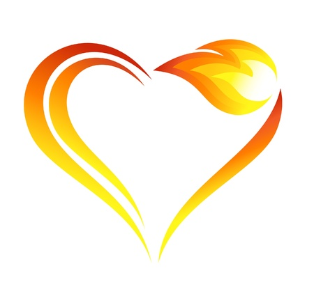 red love heart with flames: Abstract fire flames icon with heart element Illustration