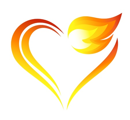 Abstract fire flames icon with heart element Çizim
