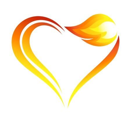 Llamas fuego Icono abstracto con elemento de corazón
