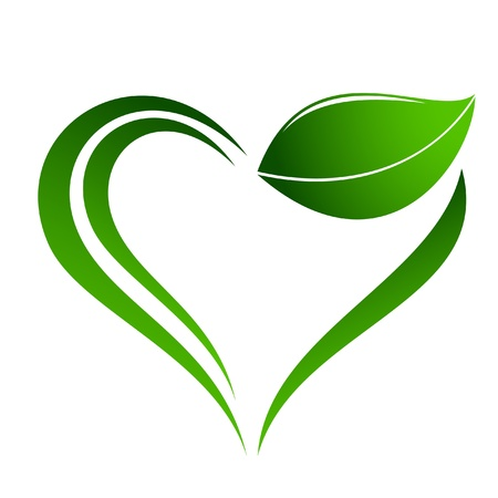 green power: Abstract plant icon with heart element