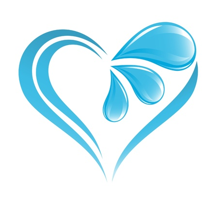 Abstract water icon with heart element Stock Vector - 15251901