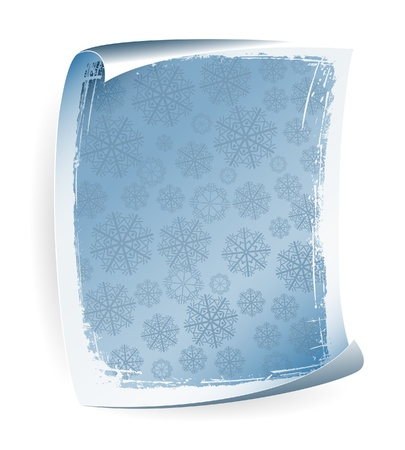 Paper notice board in blue with snowflakes Vector