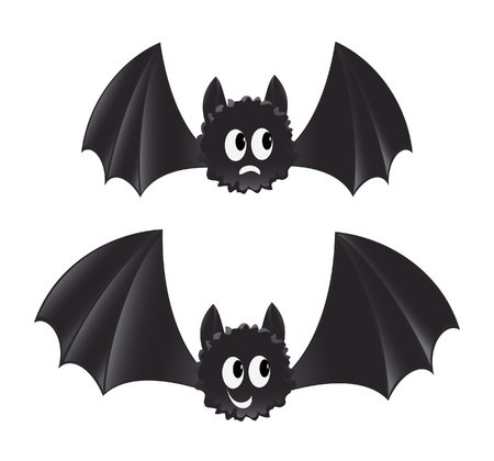 Two cartoon style bats