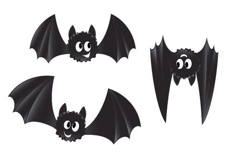 chauve souris: Jeu de chauves-souris style cartoon Illustration