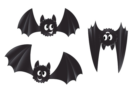 Set of cartoon style bats Vector