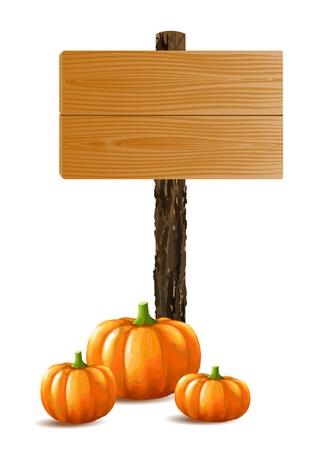 Blank wooden sign boards with bunch of pumpkins Stock Vector - 15514105