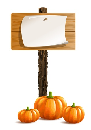 Blank wooden sign boards with paper and bunch of pumpkins Vector