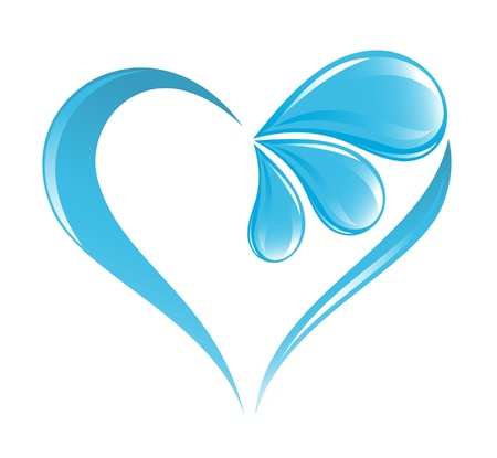 flowing water: Icono de agua abstracto con elemento coraz�n Vectores