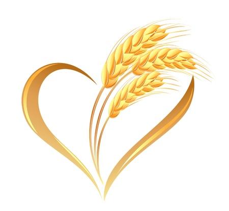 Astratto icona di grano orecchie con elemento cuore Vettoriali