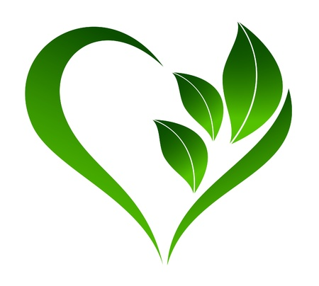 ecology  environment: Abstract plant icon with heart element