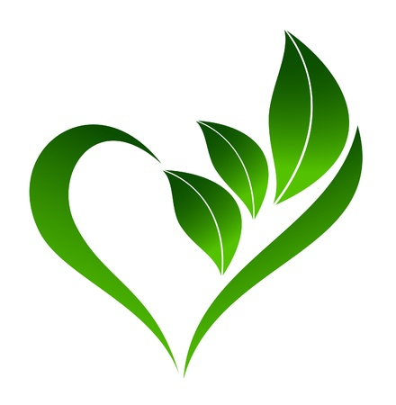 shiny hearts: Abstract plant icon with heart element