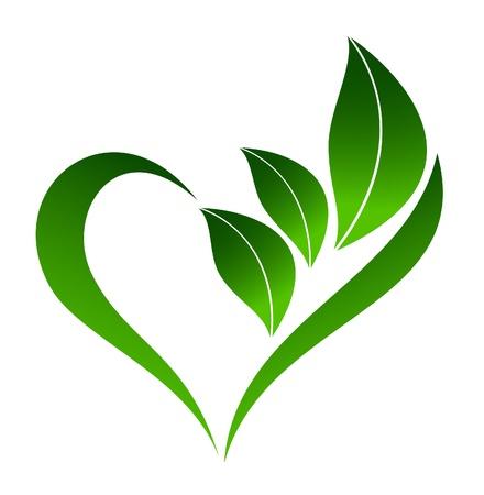 silueta hoja: Icono planta abstracto con elemento coraz�n