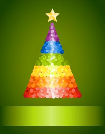 bandera gay: Confetti arco iris del árbol de Navidad sobre fondo verde Vectores