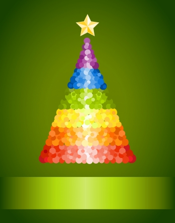 Confetti rainbow Christmas tree on green background Vector