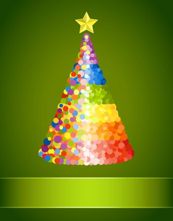 Confetti Christmas tree on green background Vector
