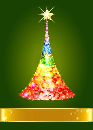 Confetti Christmas tree on green background Stock Vector - 16239473