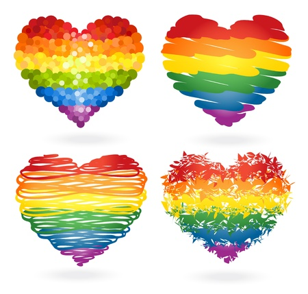 Set of rainbow hearts Stock Vector - 16650621