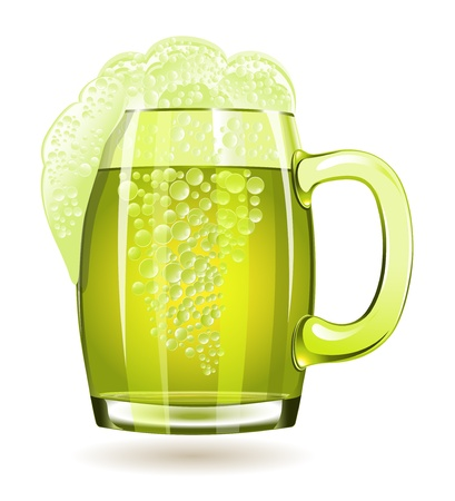 Mug of green beer isolated on a white background Stock Vector - 16762431