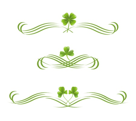 Elements in vintage style with clover leafs. Symmetric inward Vector