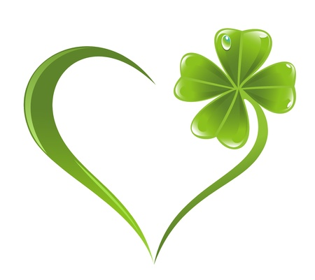 Heart icon with clover leaf icon Illustration