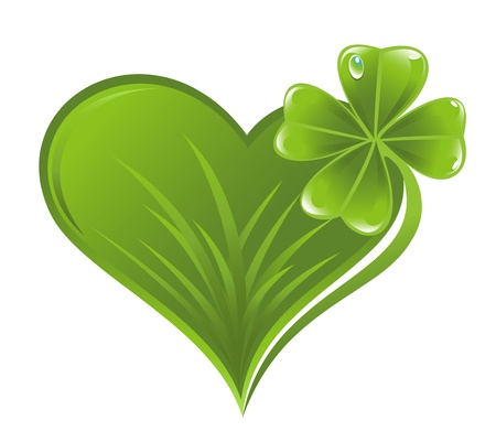 Heart icon with clover leaf