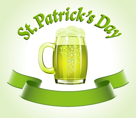 St.Patricks Day banner with beer mug Vector