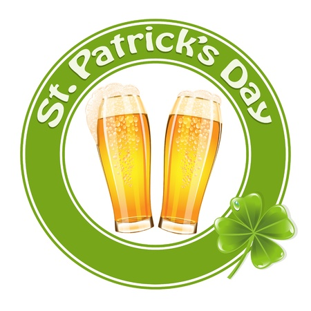 St.Patricks Day banner with two beer glass Vector