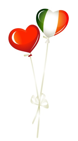 Two heart balloons, in red and irish colors Vector
