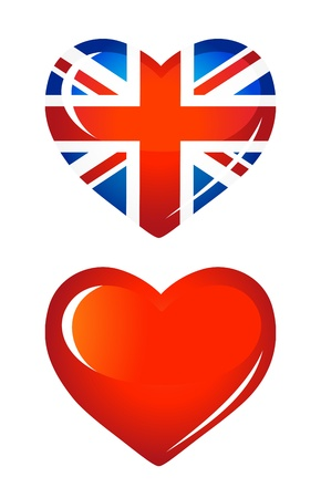 Country UK flag as Heart icon Vector