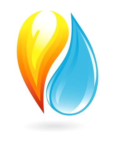 flowing water: Fuego y agua icono Vectores