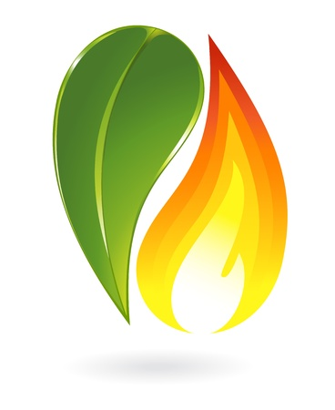 Fire and plant icon Stock Vector - 17390176