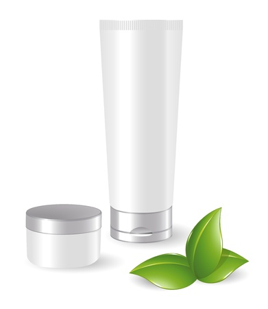 toothpaste tube: Blank cosmetic containers with green leafs Illustration