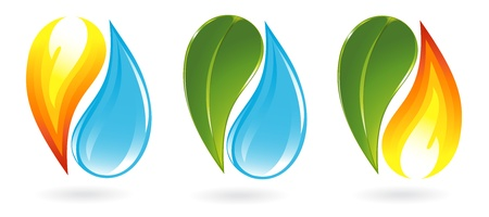 antipode: Fire, water and plant icons Illustration